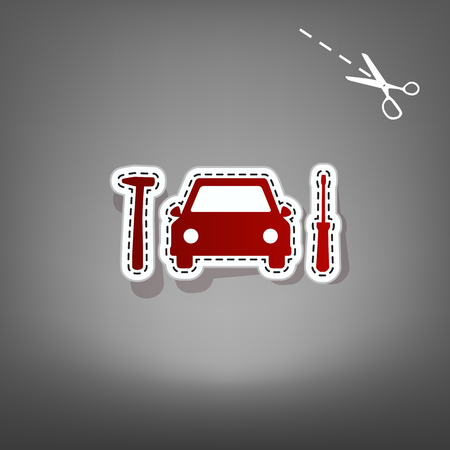 Car tire repair service sign. Vector. Red icon with for applique from paper with shadow on gray background with scissors. Illustration