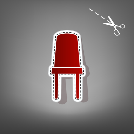 Office chair sign. Vector. Red icon with for applique from paper with shadow on gray background with scissors. Illustration