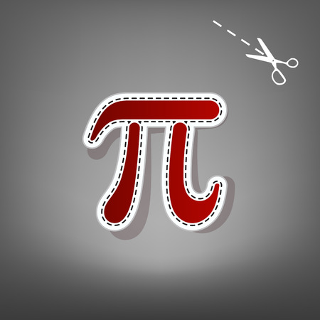 Pi greek letter sign. Vector. Red icon with for applique from paper with shadow on gray background with scissors. Illustration