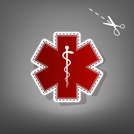 Medical symbol of the Emergency or Star of Life. Vector. Red icon with for applique from paper with shadow on gray background with scissors.