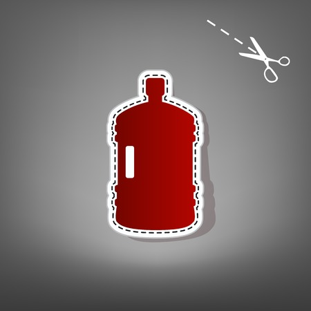 purified: Plastic bottle silhouette sign. Vector. Red icon with for applique from paper with shadow on gray background with scissors.