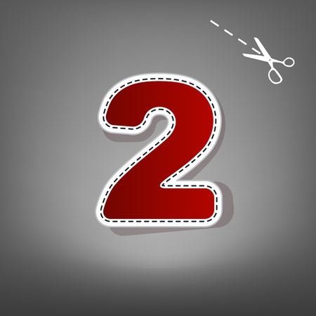 Number 2 sign design template elements. Vector. Red icon with for applique from paper with shadow on gray background with scissors. Illustration