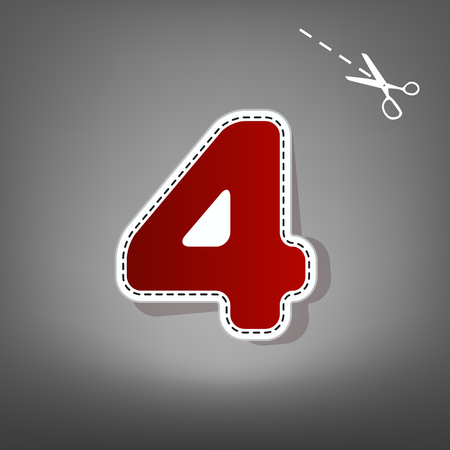 Number 4 sign design template element. Vector. Red icon with for applique from paper with shadow on gray background with scissors. Illustration