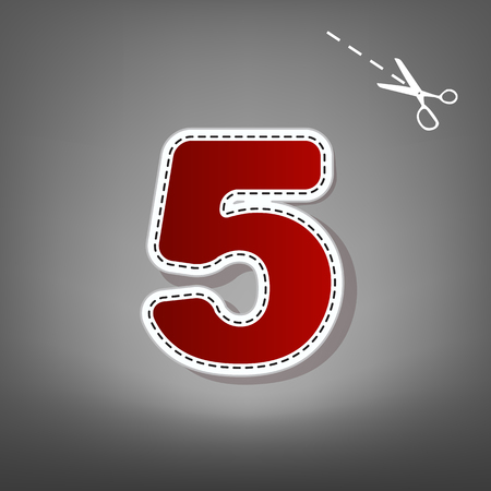 Number 5 sign design template element. Vector. Red icon with for applique from paper with shadow on gray background with scissors.