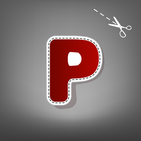 Letter P sign design template element. Vector. Red icon with for applique from paper with shadow on gray background with scissors. Illustration