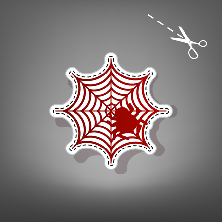Spider on web illustration. Vector. Red icon with for applique from paper with shadow on gray background with scissors.