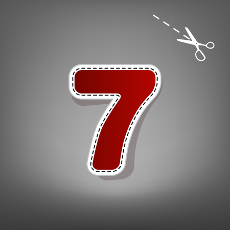 equation: Number 7 sign design template element. Vector. Red icon with for applique from paper with shadow on gray background with scissors.
