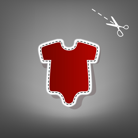 Baby cloth illustration. Vector. Red icon with for applique from paper with shadow on gray background with scissors.