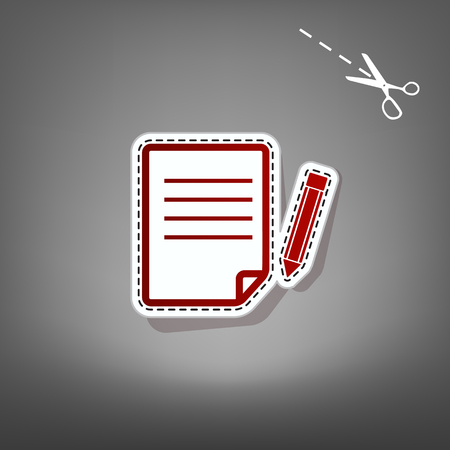 notebook: Paper and pencil sign. Vector. Red icon with for applique from paper with shadow on gray background with scissors.