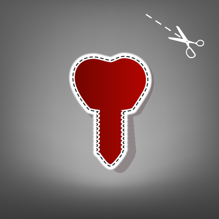 Tooth implant sign illustration. Vector. Red icon with for applique from paper with shadow on gray background with scissors.