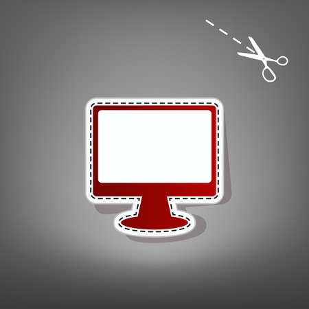 computer education: Monitor with brush sign. Vector. Red icon with for applique from paper with shadow on gray background with scissors. Illustration