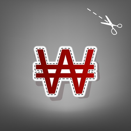 Won sign. Vector. Red icon with for applique from paper with shadow on gray background with scissors. Illustration