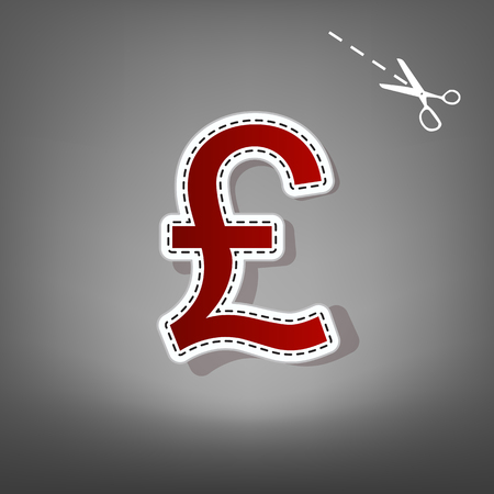 Turkish lira sign. Vector. Red icon with for applique from paper with shadow on gray background with scissors.