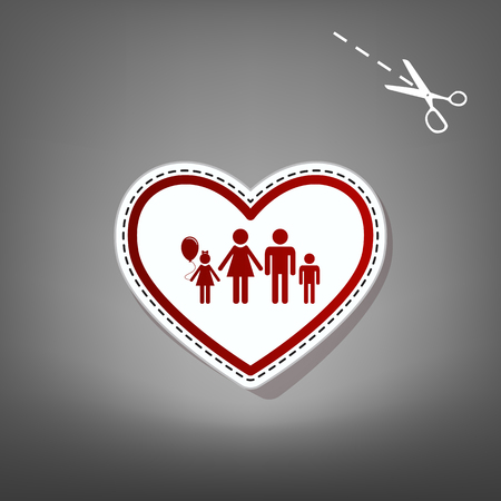 siloette: Family sign illustration in heart shape. Vector. Red icon with for applique from paper with shadow on gray background with scissors.