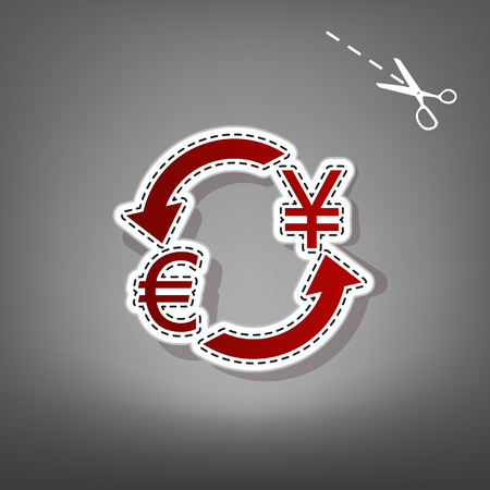 Currency exchange sign. Euro and Japan Yen. Vector. Red icon with for applique from paper with shadow on gray background with scissors.