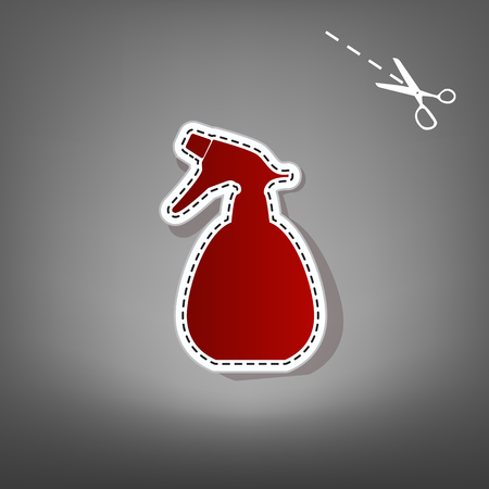 Spray bottle for cleaning sign. Vector. Red icon with for applique from paper with shadow on gray background with scissors.