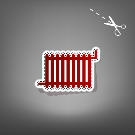 Radiator sign. Vector. Red icon with for applique from paper with shadow on gray background with scissors. Illustration