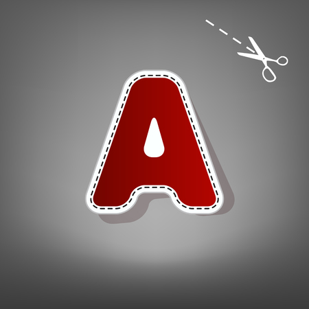 Letter A sign design template element. Vector. Red icon with for applique from paper with shadow on gray background with scissors. Illustration