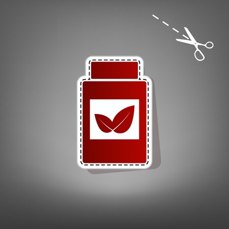medical distribution: Supplements container sign. Vector. Red icon with for applique from paper with shadow on gray background with scissors.