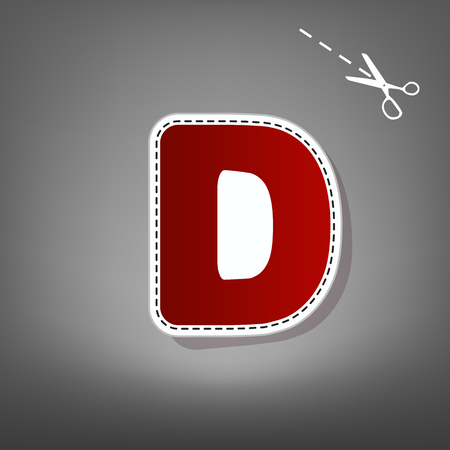 d mark: Letter D sign design template element. Vector. Red icon with for applique from paper with shadow on gray background with scissors.