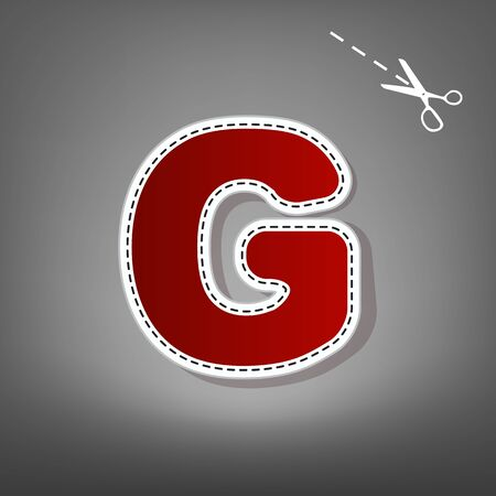 Letter G sign design template element. Vector. Red icon with for applique from paper with shadow on gray background with scissors.