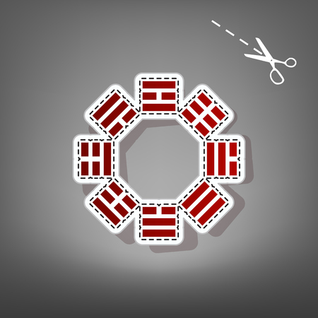 taiji: Bagua sign. Vector. Red icon with for applique from paper with shadow on gray background with scissors.