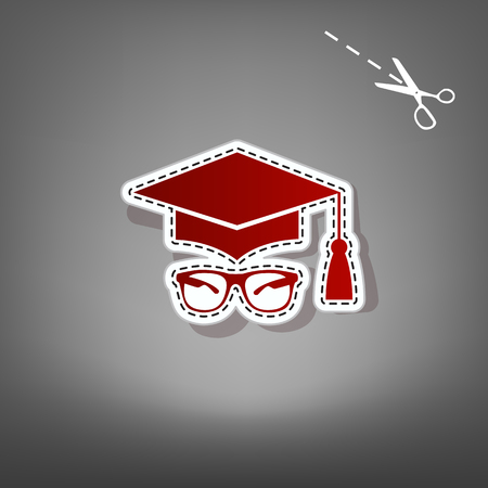 Mortar Board or Graduation Cap with glass. Vector. Red icon with for applique from paper with shadow on gray background with scissors. Illustration