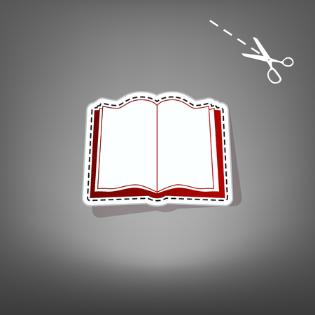 open magazine: Book sign. Vector. Red icon with for applique from paper with shadow on gray background with scissors. Illustration