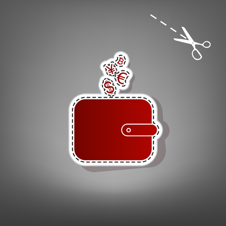 Wallet sign with currency symbols. Vector. Red icon with for applique from paper with shadow on gray background with scissors.