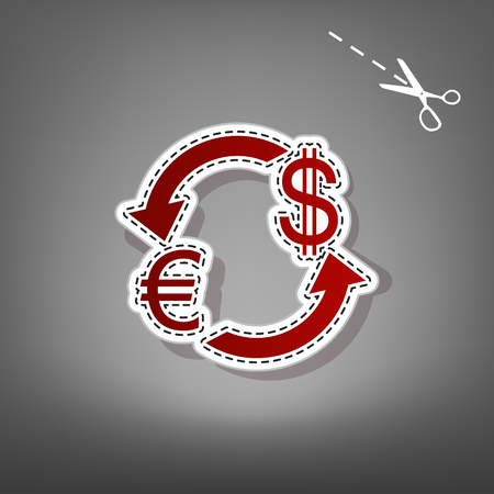 Currency exchange sign. Euro and Dollar. Vector. Red icon with for applique from paper with shadow on gray background with scissors. Ilustração