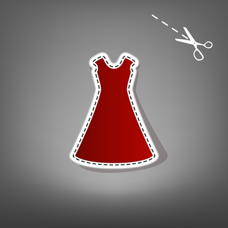 beautiful long dress sign. Vector. Red icon with for applique from paper with shadow on gray background with scissors.