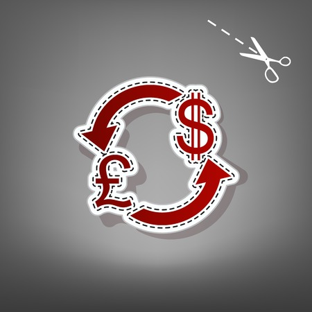Currency exchange sign. UK: Pound and US Dollar. Vector. Red icon with for applique from paper with shadow on gray background with scissors. Ilustração
