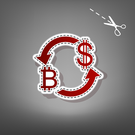 Currency exchange sign. Bitcoin and US Dollar. Vector. Red icon with for applique from paper with shadow on gray background with scissors. Ilustração