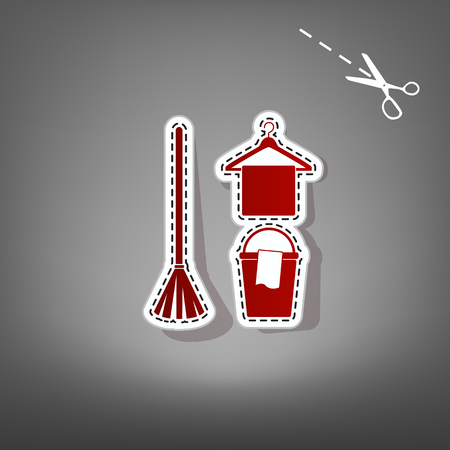 Broom, bucket and hanger sign. Vector. Red icon with for applique from paper with shadow on gray background with scissors. Illustration