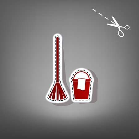 sweeper: Broom and bucket sign. Vector. Red icon with for applique from paper with shadow on gray background with scissors.