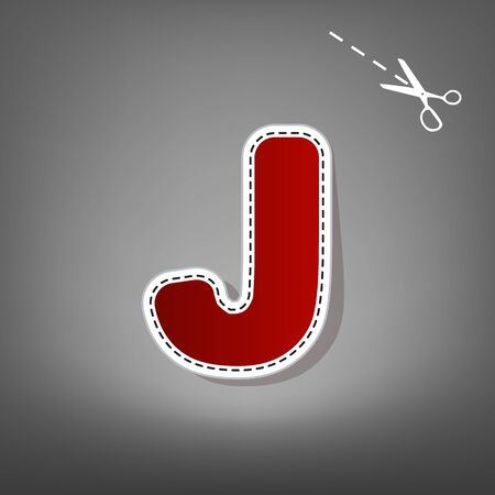 Letter J sign design template element. Vector. Red icon with for applique from paper with shadow on gray background with scissors. Illustration