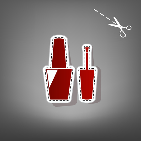 Nail polish sign. Vector. Red icon with for applique from paper with shadow on gray background with scissors. Illustration