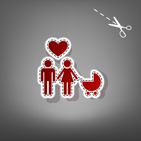 Family symbol with pram and heart. Husband and wife are kept each other`s hands. Love. Vector. Red icon with for applique from paper with shadow on gray background with scissors.