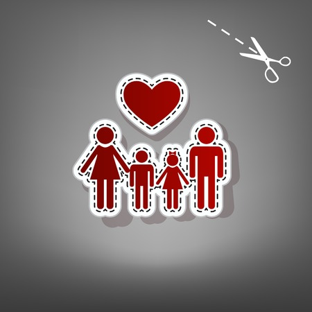 Family symbol with heart. Husband and wife are kept childrens hands. Vector. Red icon with for applique from paper with shadow on gray background with scissors. Illustration