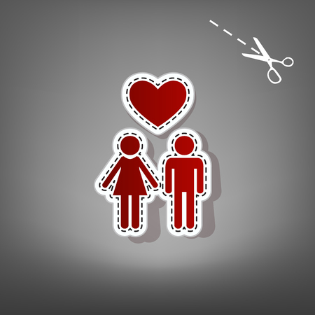 Family symbol with heart. Husband and wife are kept each other`s hands. Love. Vector. Red icon with for applique from paper with shadow on gray background with scissors.