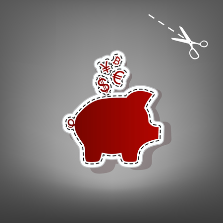 Piggy bank sign with the currencies. Vector. Red icon with for applique from paper with shadow on gray background with scissors.