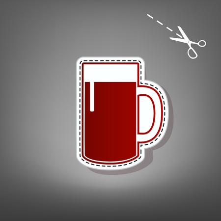 brewed: Beer glass sign. Vector. Red icon with for applique from paper with shadow on gray background with scissors.