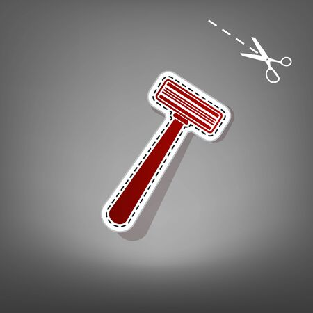Safety razor sign. Vector. Red icon with for applique from paper with shadow on gray background with scissors.