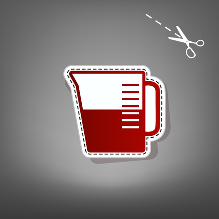ml: Beaker sign. Vector. Red icon with for applique from paper with shadow on gray background with scissors.