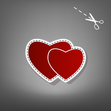 cor: Two hearts sign. Vector. Red icon with for applique from paper with shadow on gray background with scissors.