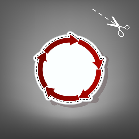 shopping chart: Circular arrows sign. Vector. Red icon with for applique from paper with shadow on gray background with scissors.
