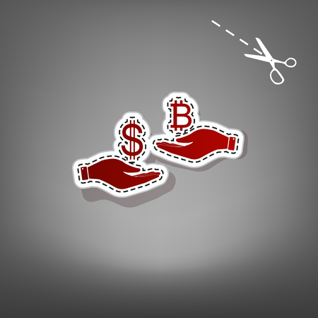 Currency exchange from hand to hand. Dollar and Bitcoin. Vector. Red icon with for applique from paper with shadow on gray background with scissors. Çizim