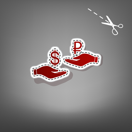 Currency exchange from hand to hand. Dollar and Ruble. Vector. Red icon with for applique from paper with shadow on gray background with scissors. Illustration