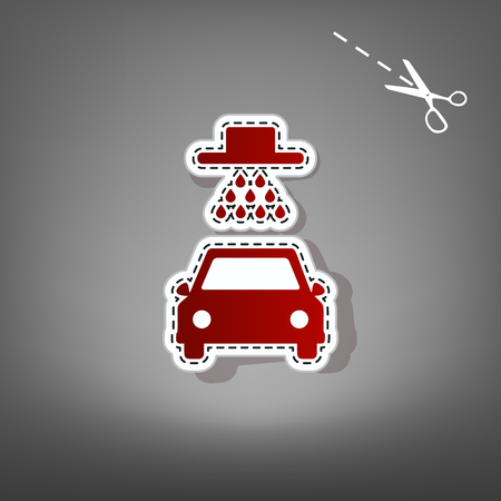 Car wash sign. Vector. Red icon with for applique from paper with shadow on gray background with scissors.
