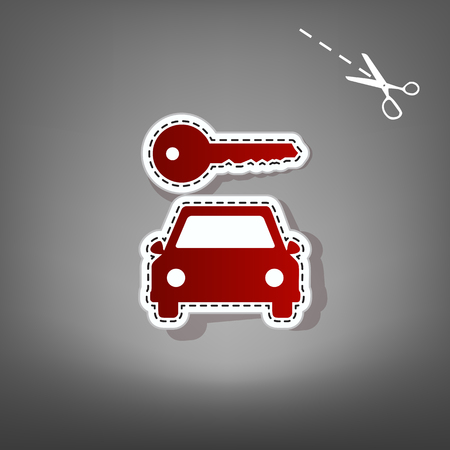 rent index: Car key simplistic sign. Vector. Red icon with for applique from paper with shadow on gray background with scissors. Illustration